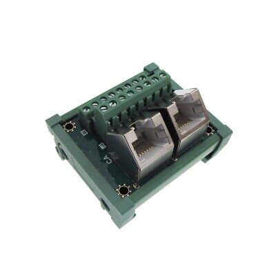Dual Rj45 Ethernet Breakout Board Module 45d Screw Terminals Din Rail Mount