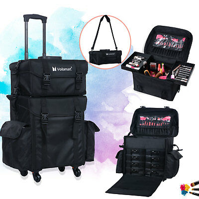 Makeup Case Beauty Trolley Cosmetic Artist Rolling Bag Storage Organizer Black