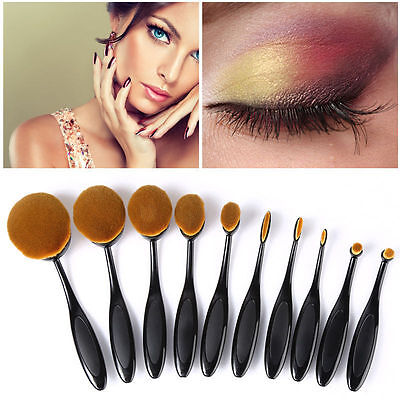10tlg Premium Make Up Brush Pinsel Set - Beauty Puderpinsel Kosmetik Zahnbürste
