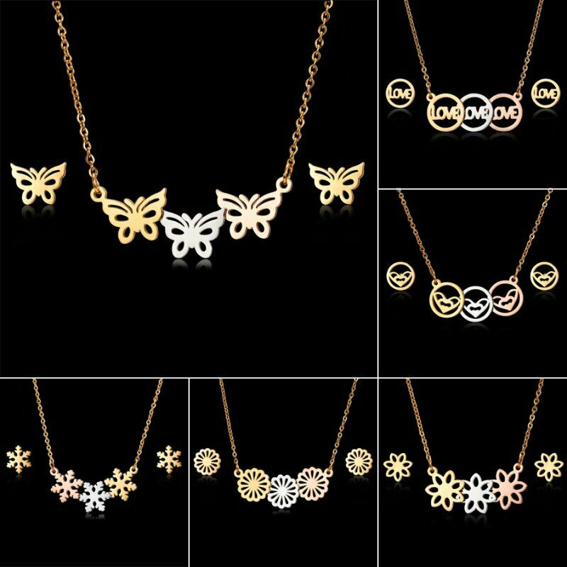 Fashion Gold Stainless Jewelry Sets Pendant Earrings