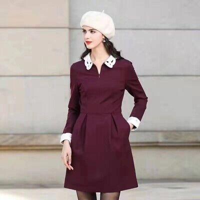 AUTH Ted Baker SHEALAH Long sleeved Collared dress MAROON 0,1,4,5