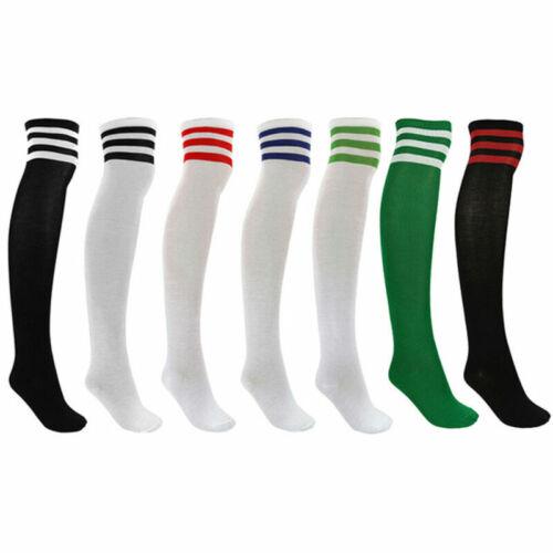 Damen Overknees Streifen Kniestrümpfe Socken Strümpfe Cheerleader College Set