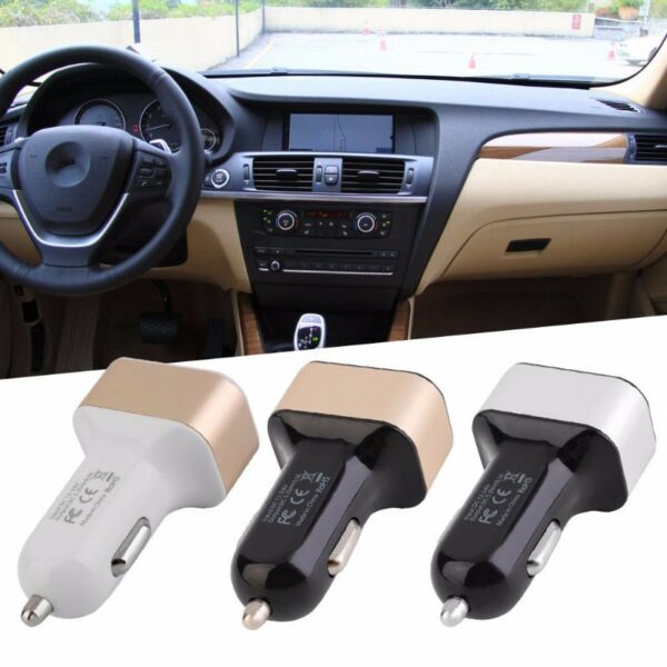 3 port Car USB charger:  Black silver model.