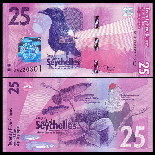 Seychelles 25 Rupees, 2016, P-NEW, UNC