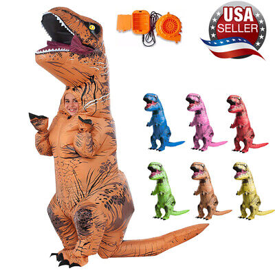 Xmas Inflatable Dinosaur T-REX Adults Kids Costume Blowup Cosplay Party Outfit