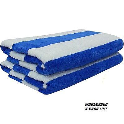 4 jumbo white blue stripe hotel cabana beach towels pool towel 30x60 ga towels