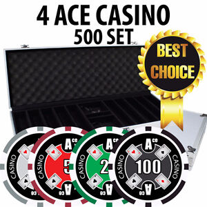 4 ACE CASINO POKER CHIP SET - CHIPS 500 W/ ALUMINUM CASE