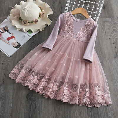 Flower Girls Dresses (Baby Kids Girl Long Sleeve Lace Flower Party Tutu Princess Dress Casual)