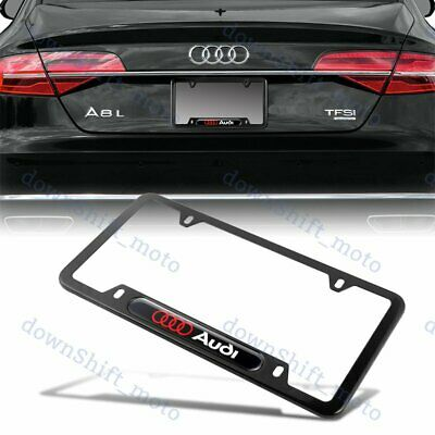 1PCS For AUDI Black Metal Stainless Steel License Plate Frame NEW
