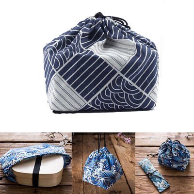 Portable Japanese Style Bento Tote Pouch Eco Lunch Box Meal Eating Tea Out Bags