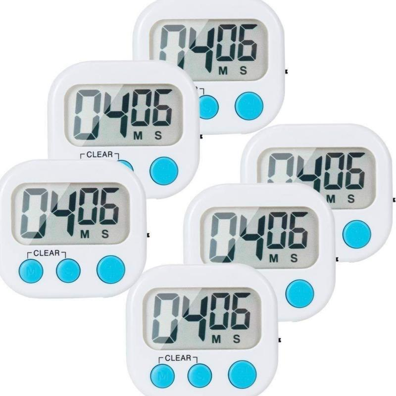 6 Pack Small Digital Kitchen Timer Magnetic Back And On/Off
