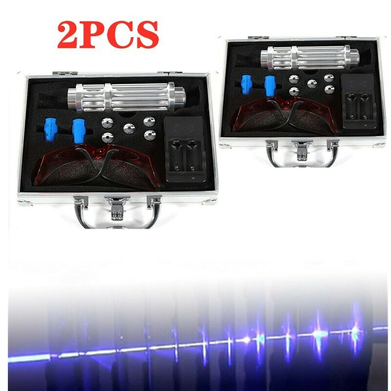 Military Thor 450nm Blue Laser Light Lazer Beam Burn Light w/ Goggle 2PCS +Box