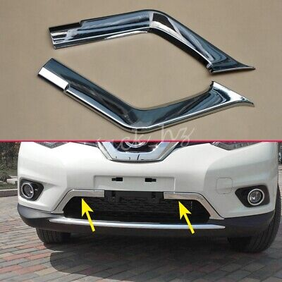 Chrome Front Bumper Lower Grille Trims For 2014-2016 Nissan Rogue X-Trail