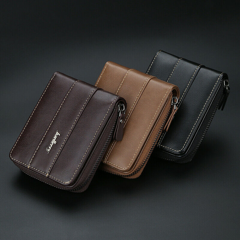 Men RFID Blocking Short Wallet Leather Money Credit Card ID Holder Purse Handbag Clothing, Shoes & Accessories