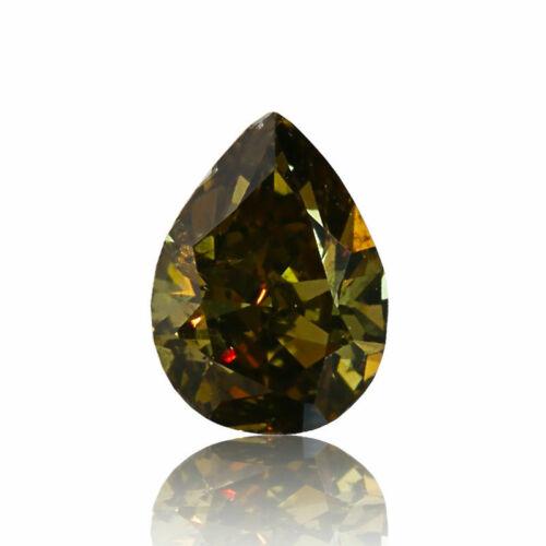 Yellow Natural Diamond 0 .30 Ct Fancy Dark Green Real GIA Certified Pear Cut