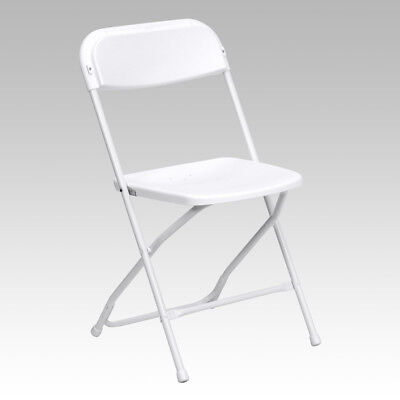 100 Pack 650 Lbs Capacity Commercial Quality Plastic Folding Chairs In White