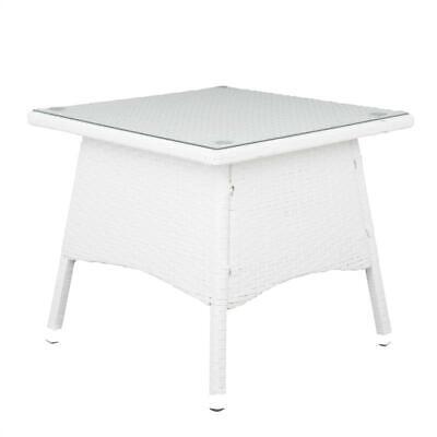 Poly Tee (Polyrattan Tisch weiß 50 x 50 cm Beistelltisch Rattan Teetisch Gartentisch)