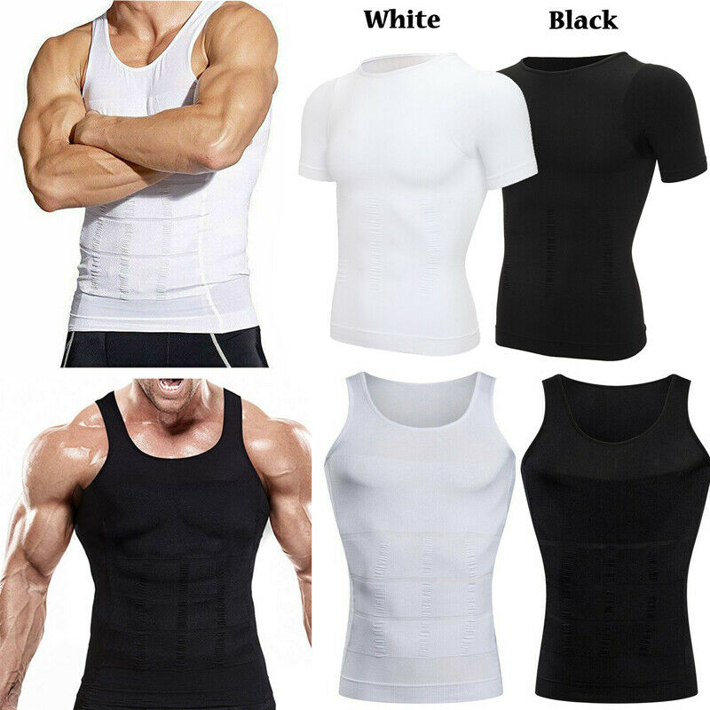 Men Chest Compression T-Shirt Posture Corrector Vest Abs Sli
