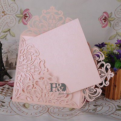 Blank Invitations - 12 PCS Beige Pink Laser Cut Wedding Invitation Cards Blank Inner Birthday Party