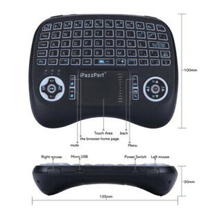 Wireless Backlit Mini Keyboard Handheld Remote with Touchpad New