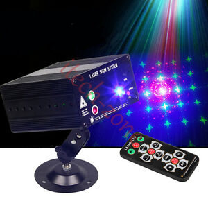 Mini 48 Patterns Laser Projector Stage Lighting LED RGB Light Party DJ Disco 12V