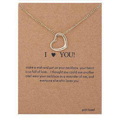 Womens Fashion Jewelry  I Love You  Gold Pendant Necklace 11 2