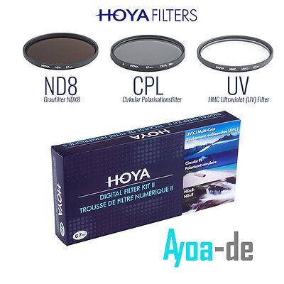 FILTER SET HOYA DIGITAL FILTER KIT  52mm POLFILTER CPL UV GRAUFILTER NDX8 NEU