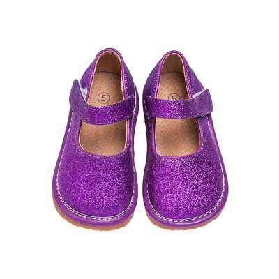 Girl's Leather Toddler Purple Sparkle Mary Jane Squeaky Shoes Sizes 1 to 7](Girls Purple Sparkle Shoes)
