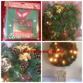 New wreath and tree skirt plug in