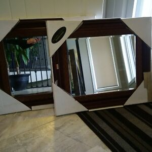 2 Brand New Identical mirrors with handcrafted wood frame