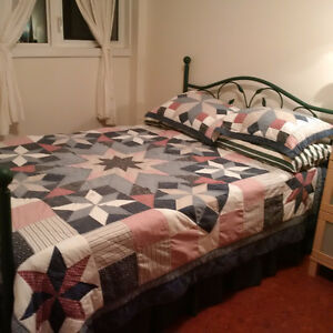 Double bed, frame, boxspring and mattress