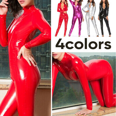 Women Plus Size Tight Jumpsuits Sexy PU Leather - Sexy Plus Size Jumpsuits