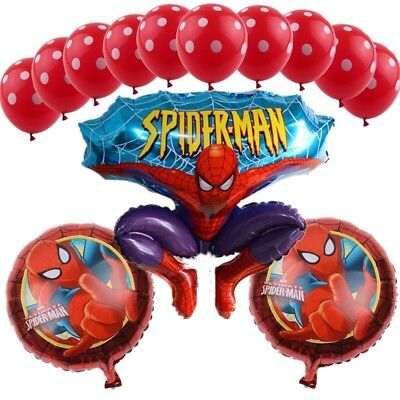13 Pcs Spiderman Ballons, Birthday Party! - Red Ballons