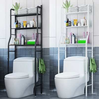 Metal Bathroom Cabinets (3 Shelf Over The Toilet Bathroom Space Saver Metal Towel Storage Cabinet Rack US )