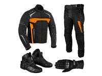 (Orange) Moto Wizard Design Suit - Jacket + Trouser + Gloves + Boots (Short)