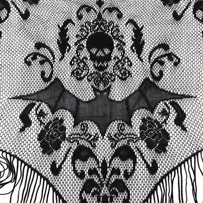 Black Lace Curtains (Gothic Black Lace SKULL BAT CURTAIN VALANCE SHAWL Halloween Haunted House)