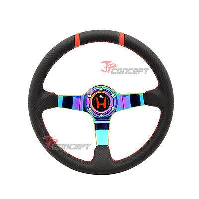 350mm JDM Racing Steering Wheel Black Carbon Fiber Look Neo Spokes Deep Dish