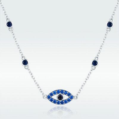 Platinum Plated Charm - Fashion 925 Silver Platinum Plated Charm Charm CZ Blue Evil Eye Pendant Necklace
