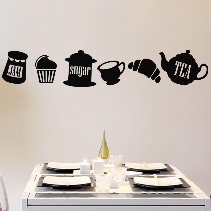 Théière Autocollants Muraux Pour Cuisine Café Art Decal Bar Salle à manger Thé