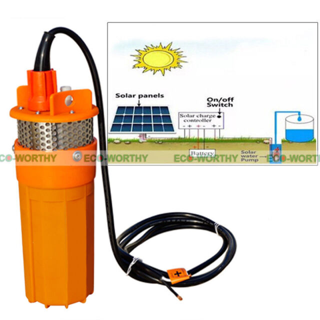 24V Submersible Deep DC Solar Well Water Pump Solar Battery Energy Portable
