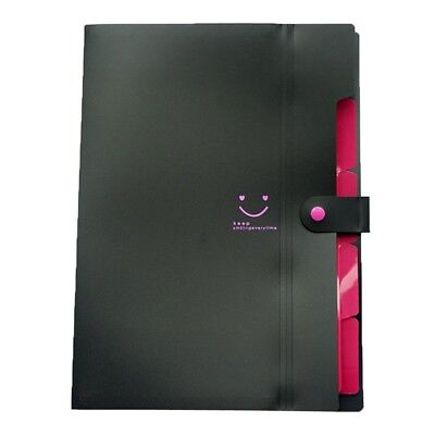 A4 Paper Expanding File Folder Pockets Accordion Document Organizer Black F5v6