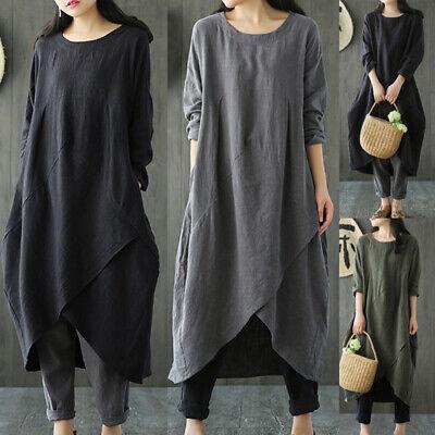 UK Plus Size Women Baggy Maxi Dress Ladies Casual Loose Long Sleeve Tunci Kaftan