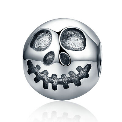Halloween Skull Charm .925 Sterling Silver Fun European Charm Bead DIY Jewelry - Fun Halloween Diy