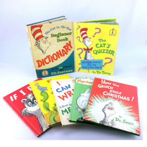 Lot 7 Dr Seuss Books Large Oversized Vintage Matte Hardcover