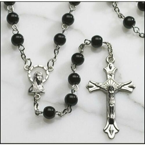 """Black Round Glass 6MM Beads Rosary 20"""" Length w/ Enlarge Virgin Mary Medal"""