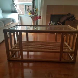 Bamboo cane centre table