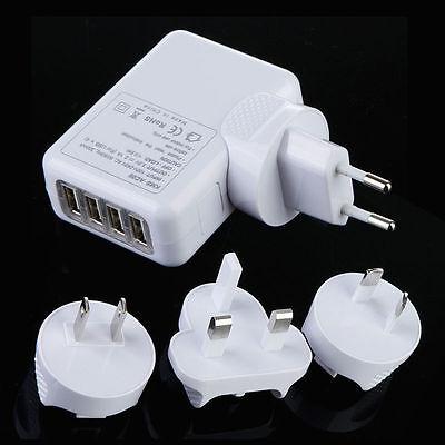 ADAPTADOR DE PARED CON 4 PUERTOS USB. VÁLIDO PARA EU, UK, EEUU...
