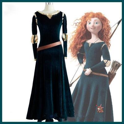 Brave Legend Princess Merida Cosplay Blackish Green Dress Girl Costume Halloween - Blackish Halloween Costume