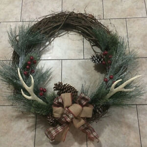 Extra Large 34' Rustic Wreath with Artificial Antlers