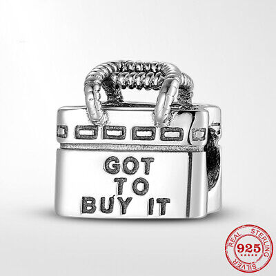 925 Sterling Silver Shopping Bag European Charms Bead fiit pandora bracelet NEW